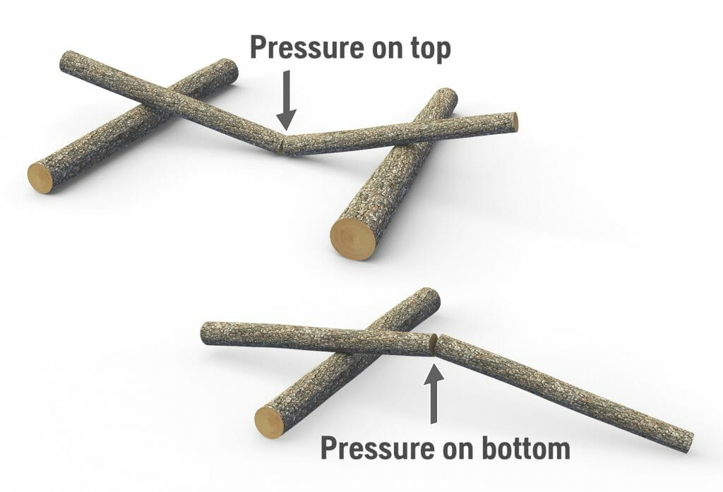 Picture showing what happens when you cut a tree with a pressure on the top or at the bottom of the trunk.