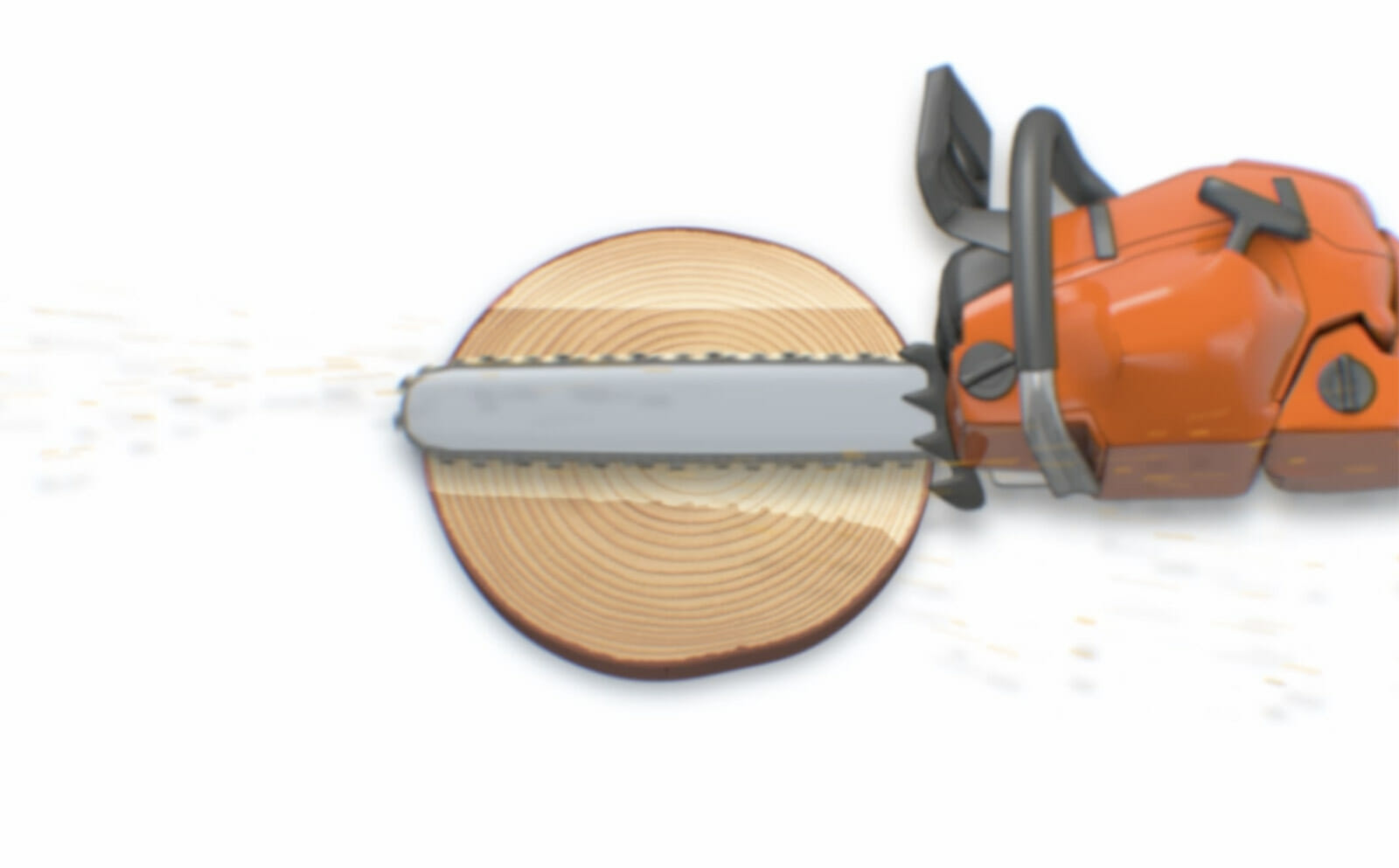 Illustration showing a chainsaw making a hinge with a bore cut, the first step of the safe corner method