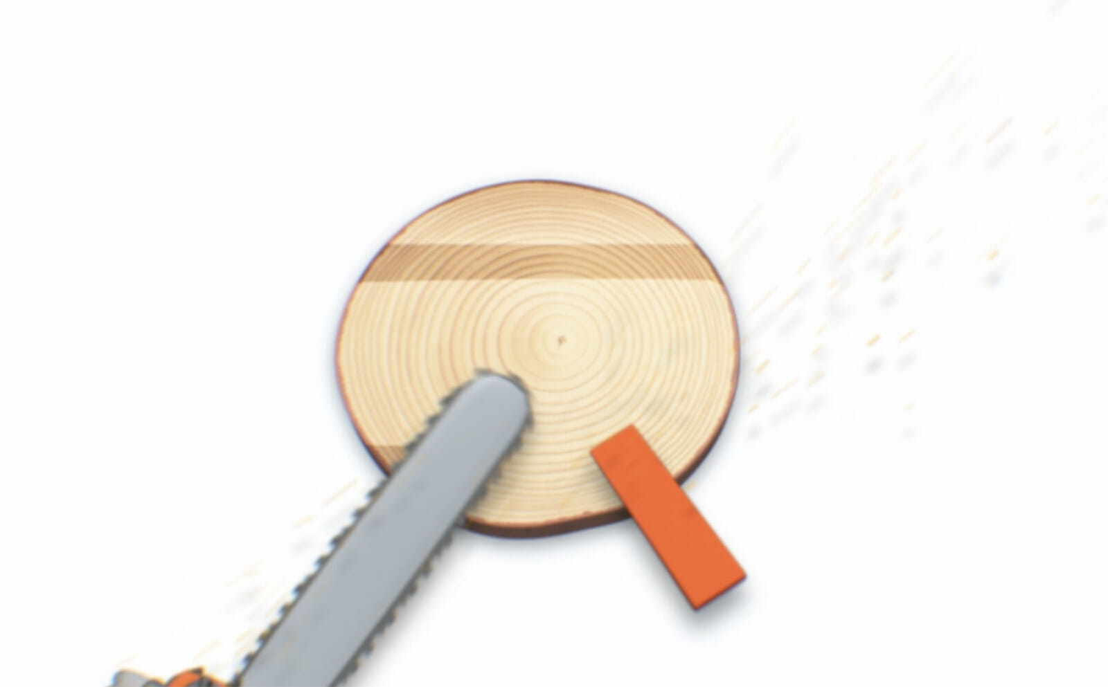 Illustration showing how the saw corner is sawn off to make the tree fall