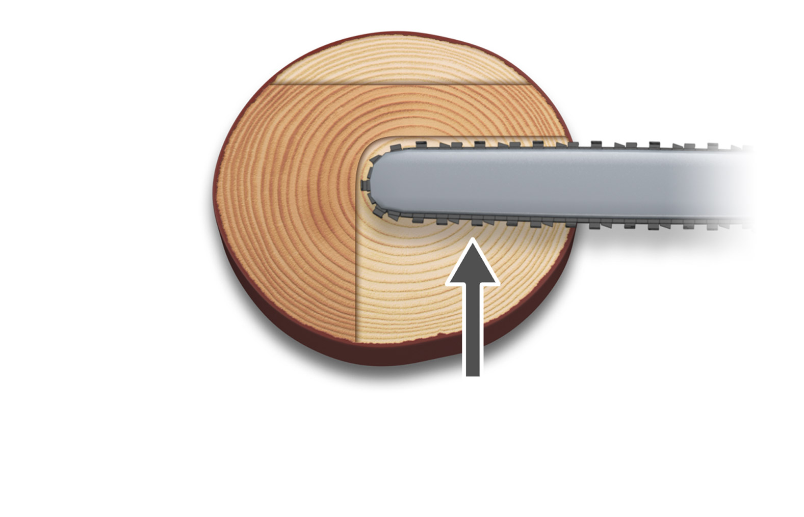Illustration showing how to cut part of the diameter, which is the first step of the Saved edge method