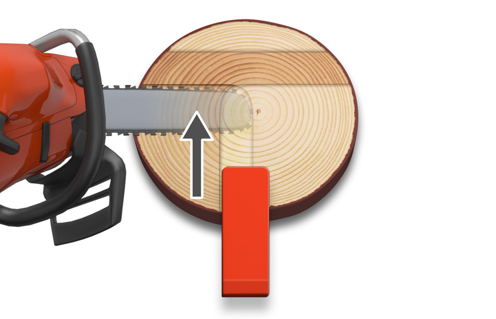 Illustration showing how a chainsaw is used to cut the saved edge