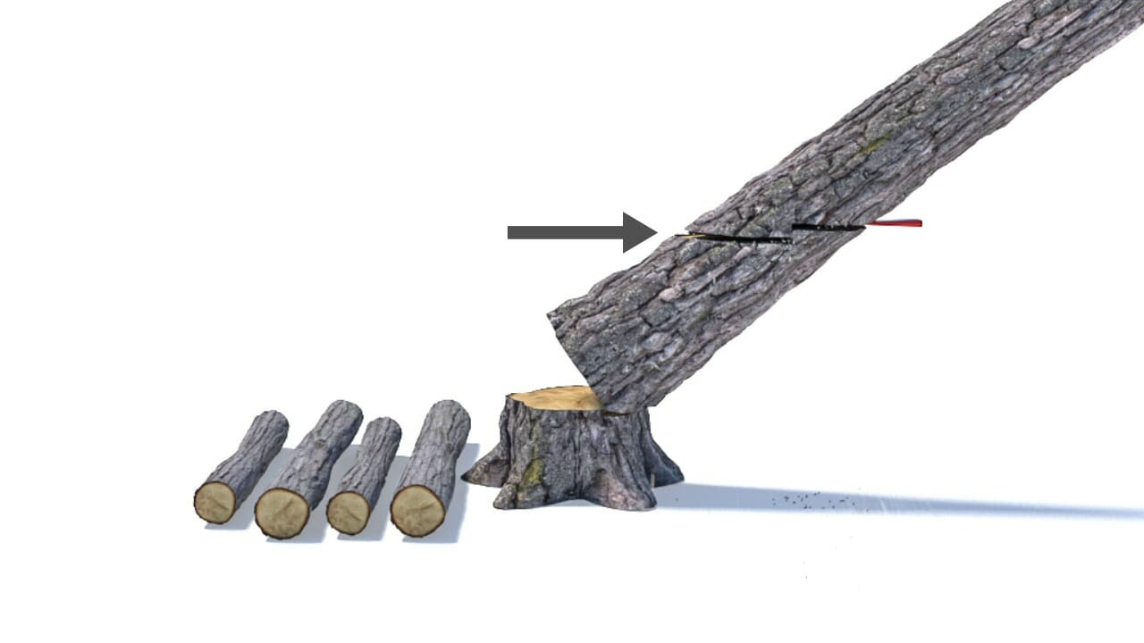 A cut is made from the front of the hung-up tree, parallel to the backside cut but 3-5 centimetres below