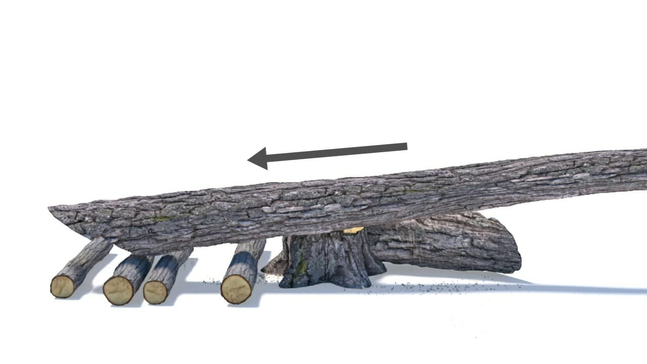 The trunk falls backwards on the slider bed, releasing the hung-up tree